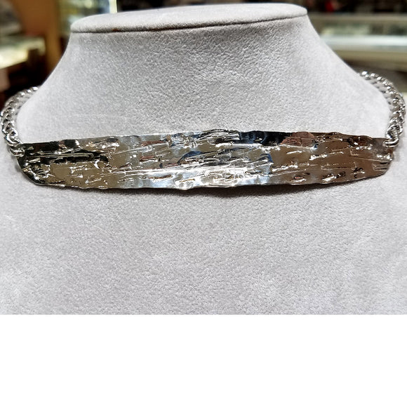 """LINEAR AESTHETICS"" Ladies Handmade .925 Sterling Silver Necklace"