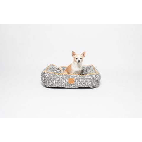 M&B Bolster Bed Grey Ikat Sml