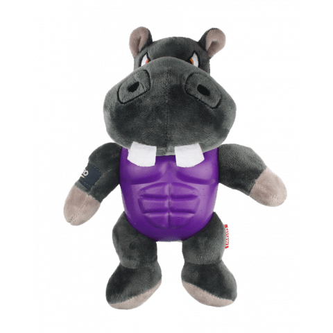 Gigwi Im Hero Armour Hippo Plush Squeak Grey