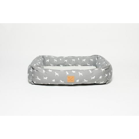 M&B Bolster Bed Grey Dog Sml