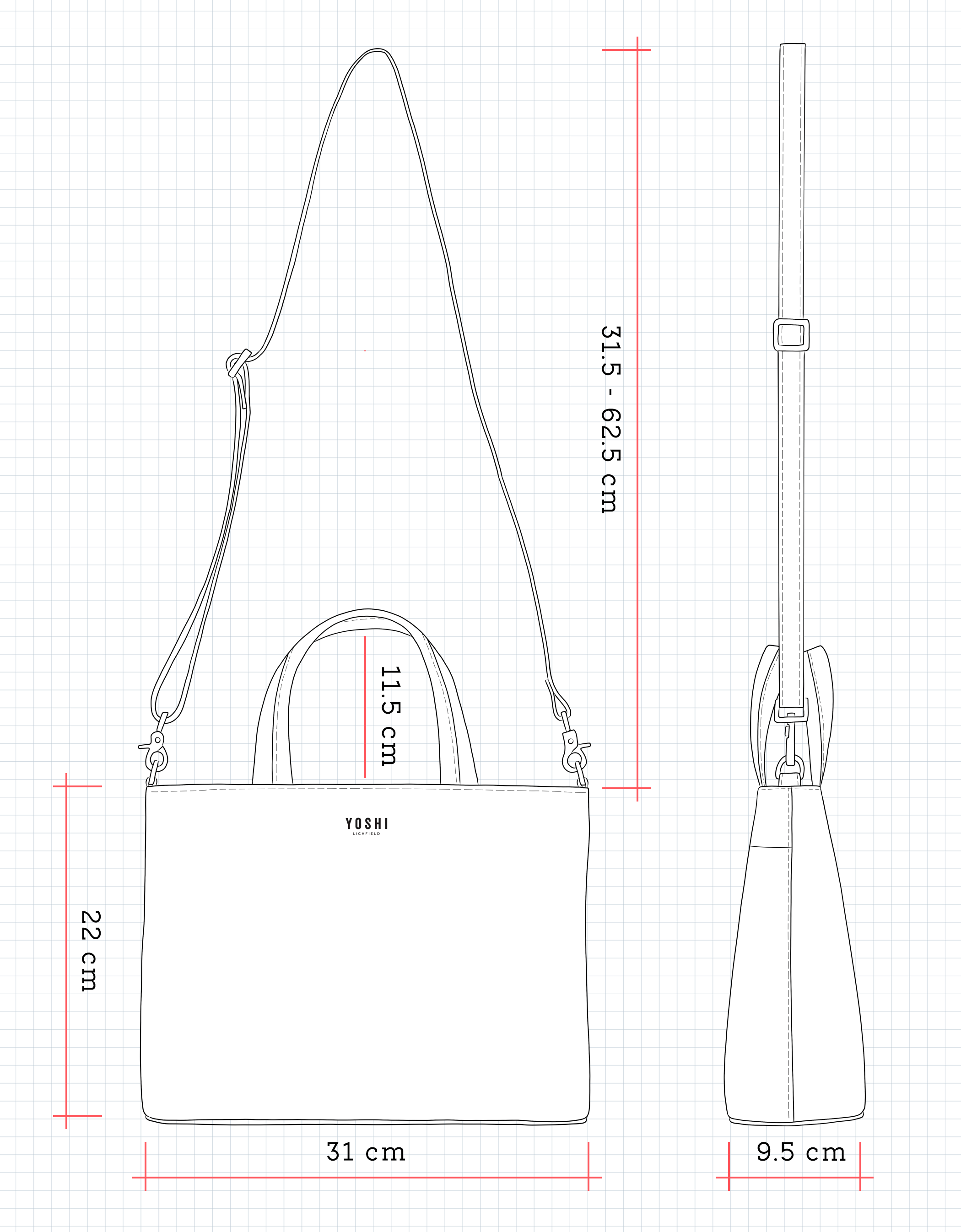 Y26 Leather Grab Bag Dimensions
