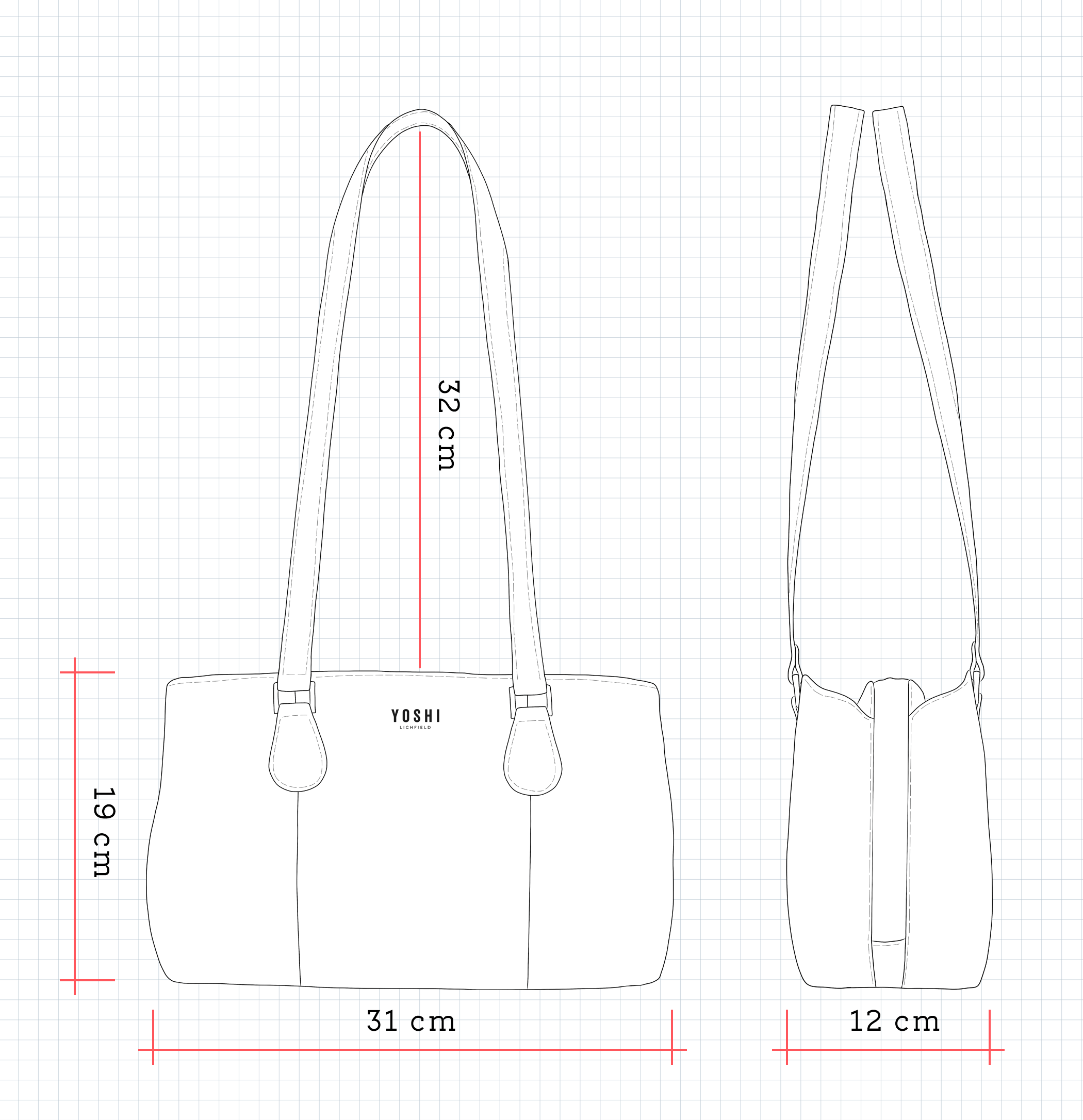 Ealing Leather Shoulder Bag Dimensions