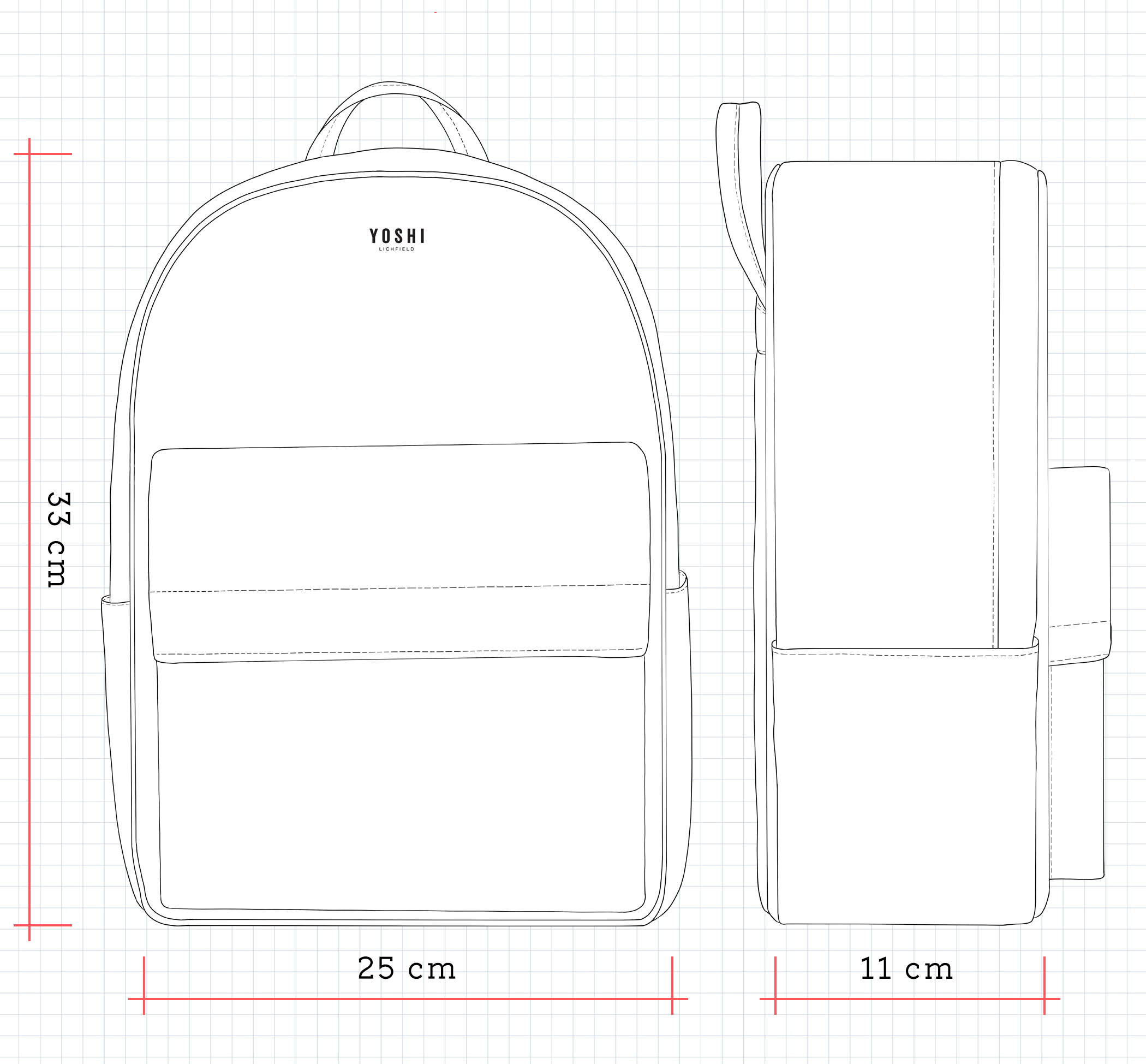 YB220 Leather Back Pack Dimensions
