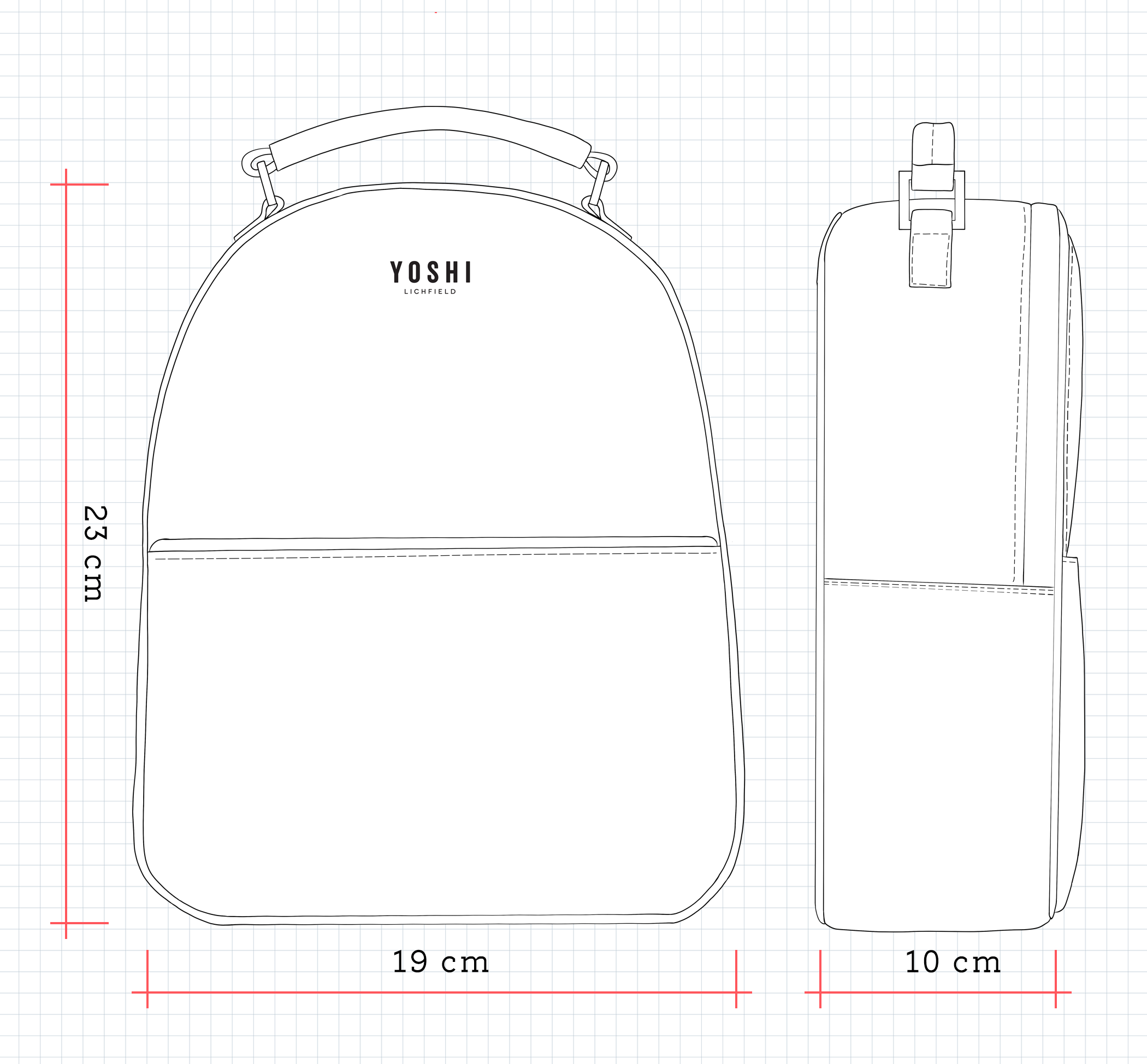 YB222 Leather Backpack Dimensions