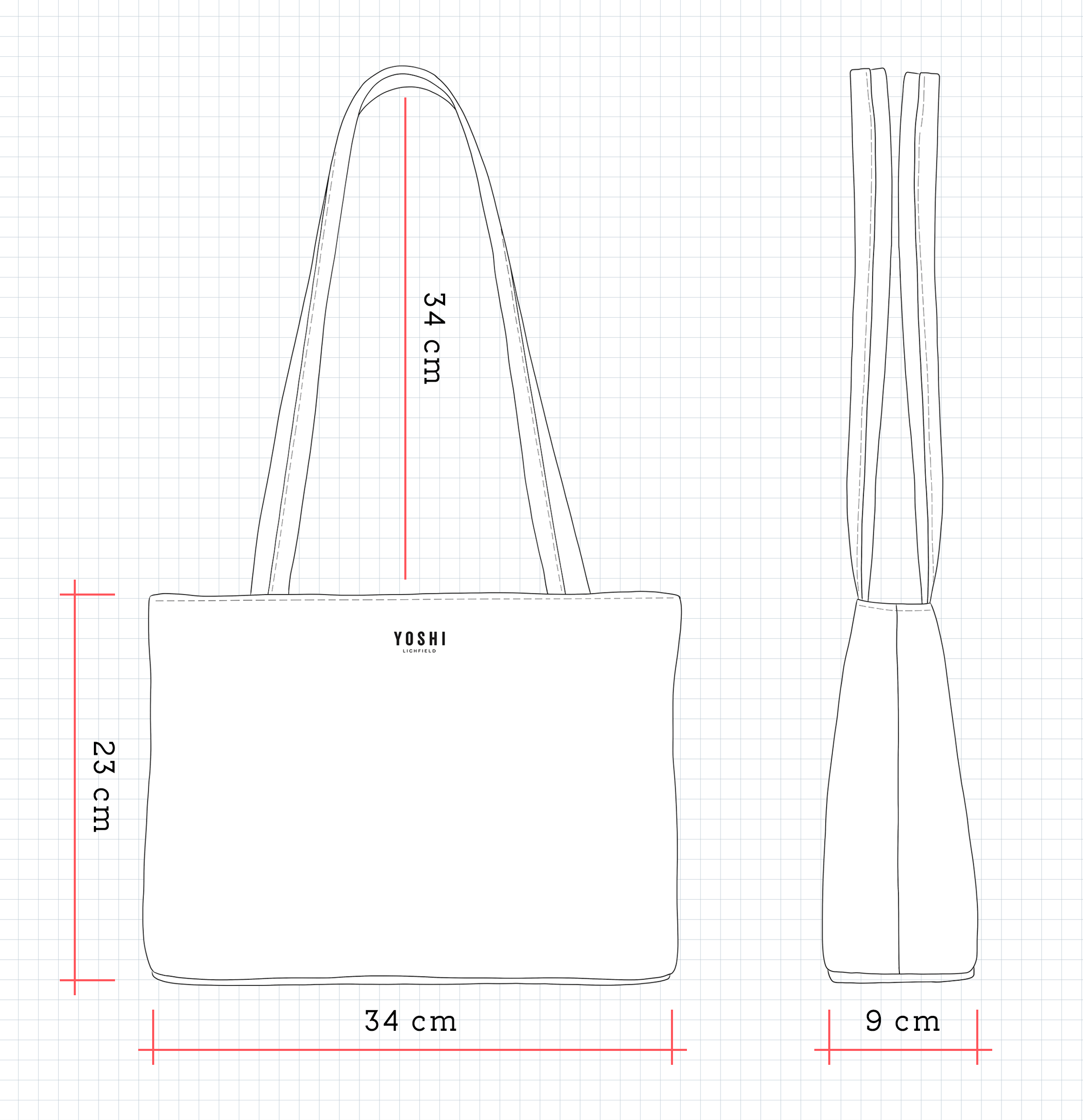 YB98 Leather Shoulder Bag Dimensions