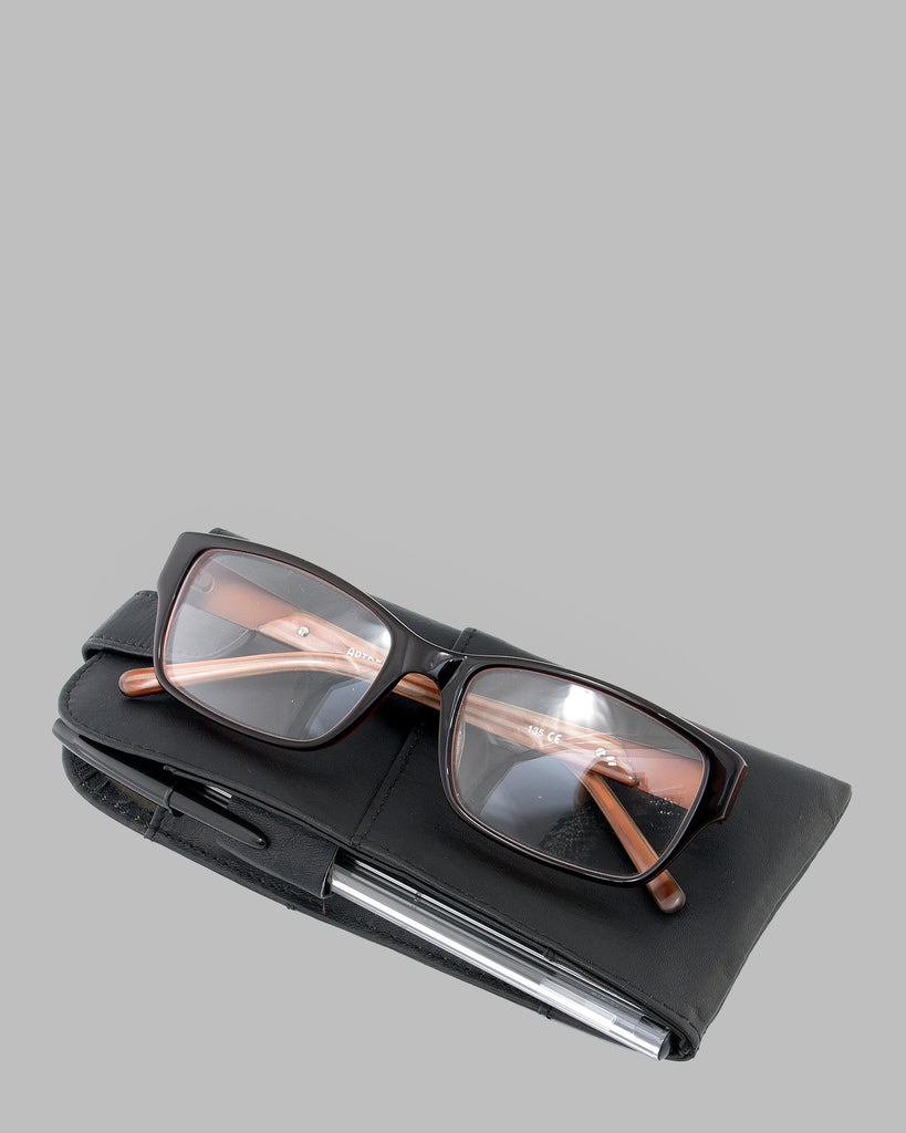 1642 Leather Glasses Case Black D