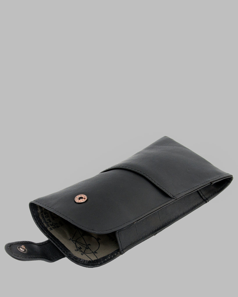 1642 Leather Glasses Case Black E