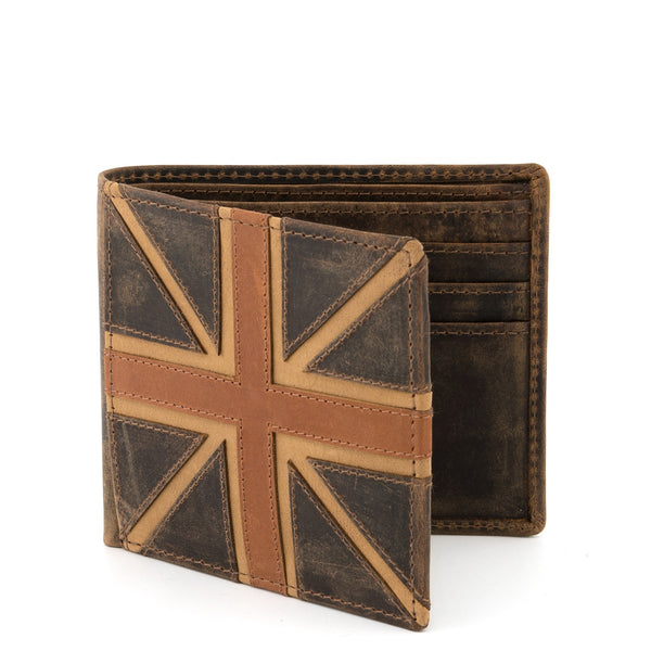 Union Jack Brown Leather mens wallet notecase A