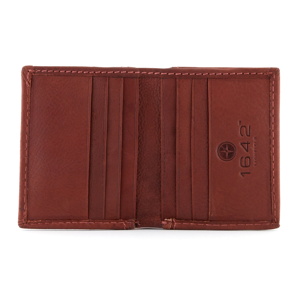 Two Fold Chestnut Leather Wallet by Oregon - Yoshi