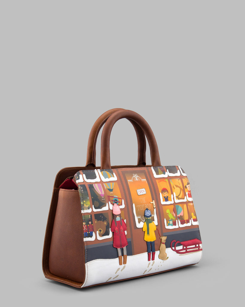 A Christmas Wish Brown Leather Tote Bag c