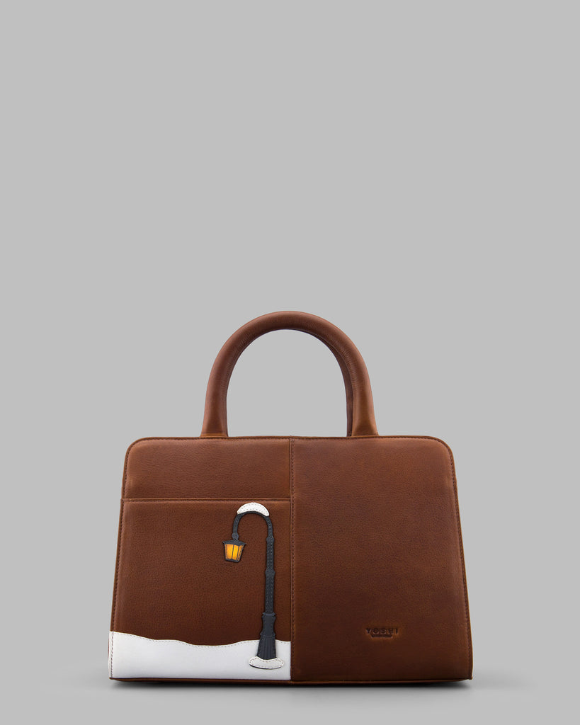 A Christmas Wish Brown Leather Tote Bag d