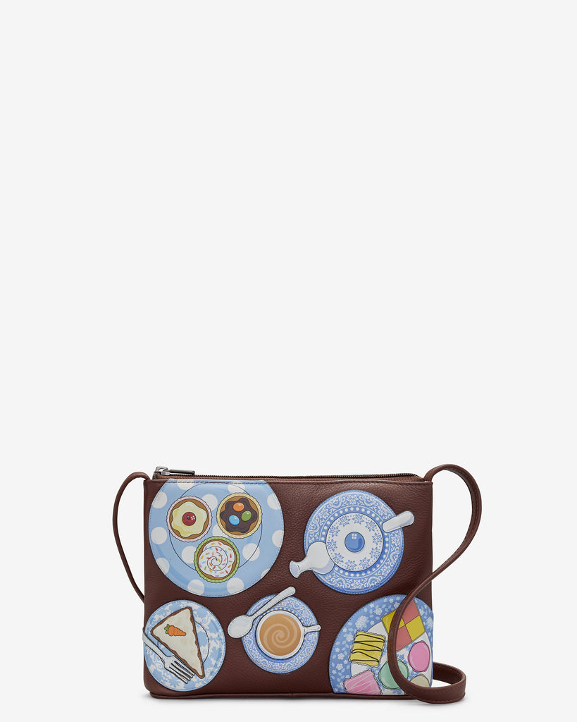 Afternoon Tea Brown Leather Cross Body Bag - Brown - Yoshi