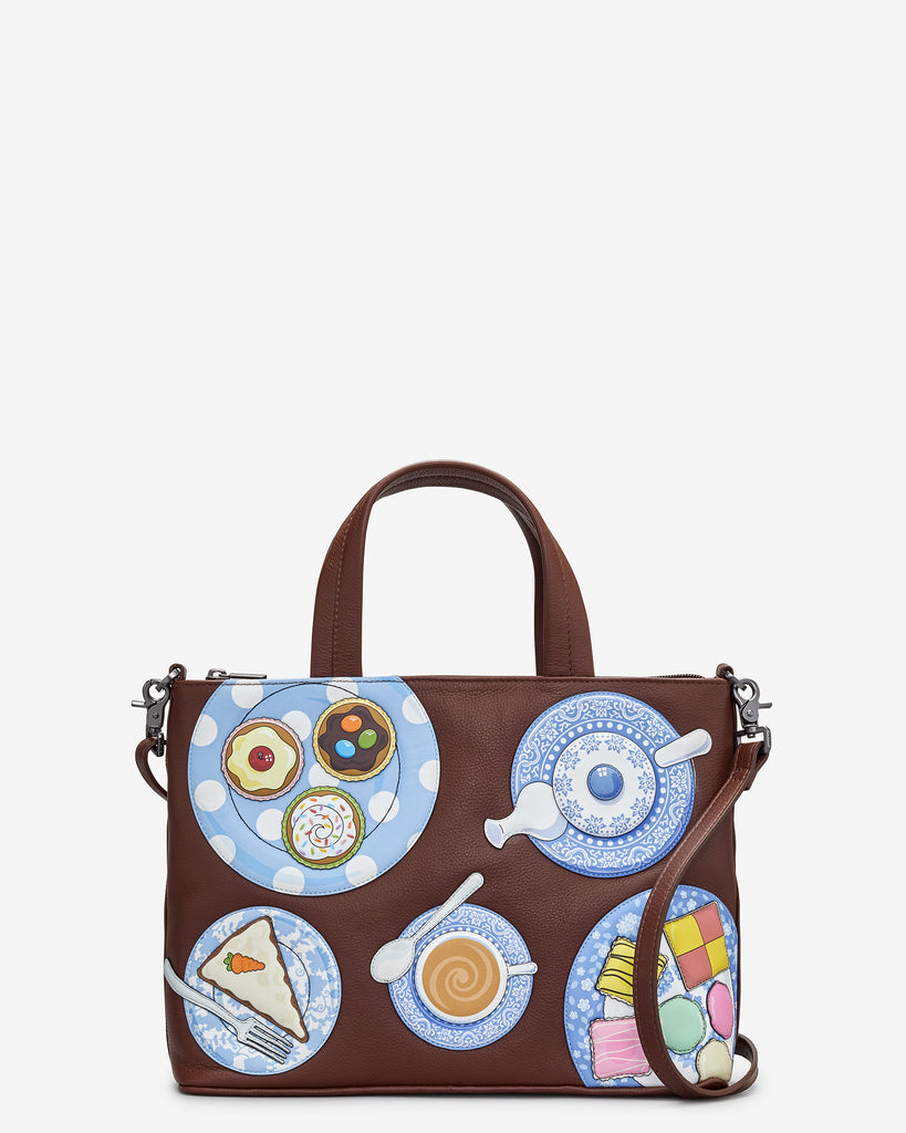 Afternoon Tea Brown Leather Multiway Grab Bag - Brown - Yoshi