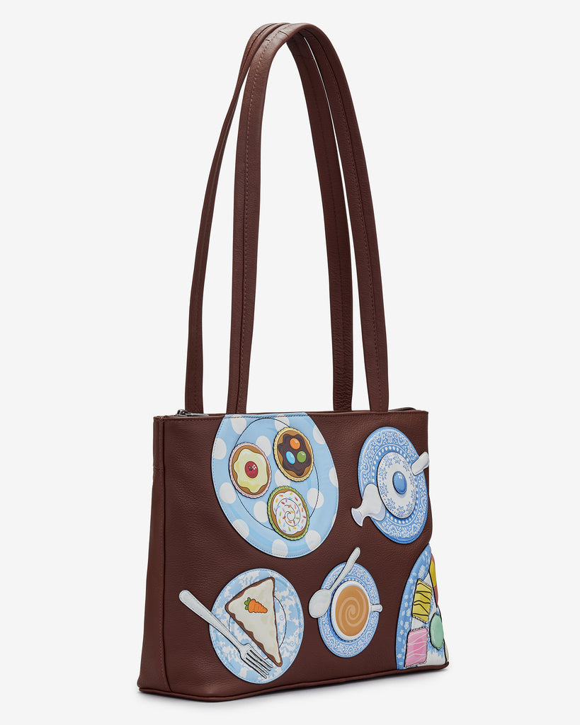 Afternoon Tea Brown Leather Shoulder Bag -  - Yoshi
