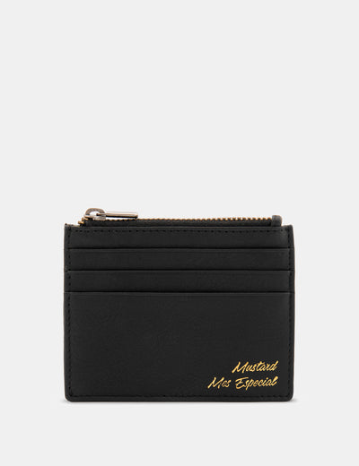 Black Zip Top 'Mes Especial' Leather Card Holder - Yoshi