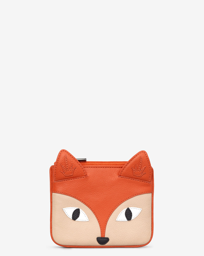 Amber the Fox Zip Top Leather Purse - Orange - Yoshi