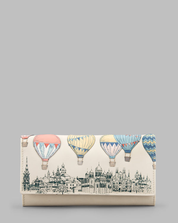 Amongst the Clouds Cream Leather Flap Over Purse A