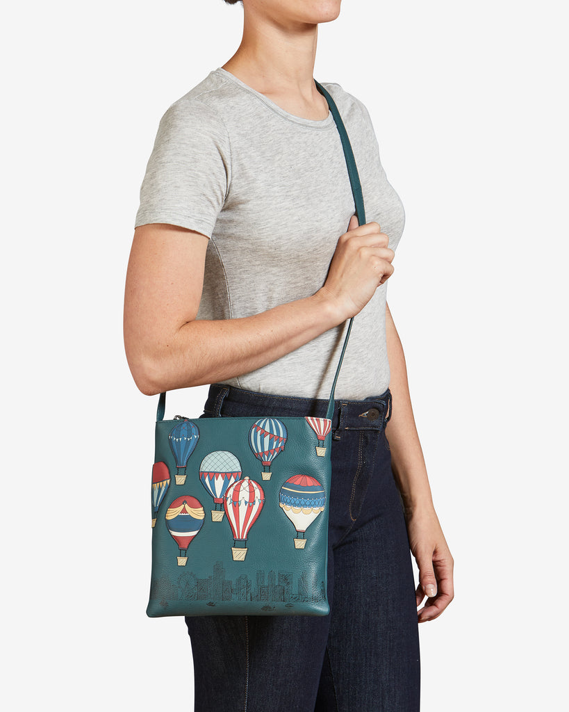 Amongst The Clouds Teal Leather Cross Body Bag -  - Yoshi