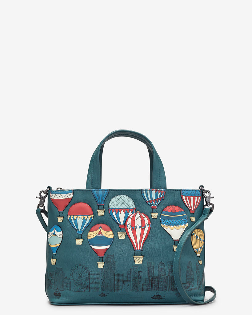 Amongst The Clouds Teal Leather Multiway Grab Bag - Teal - Yoshi