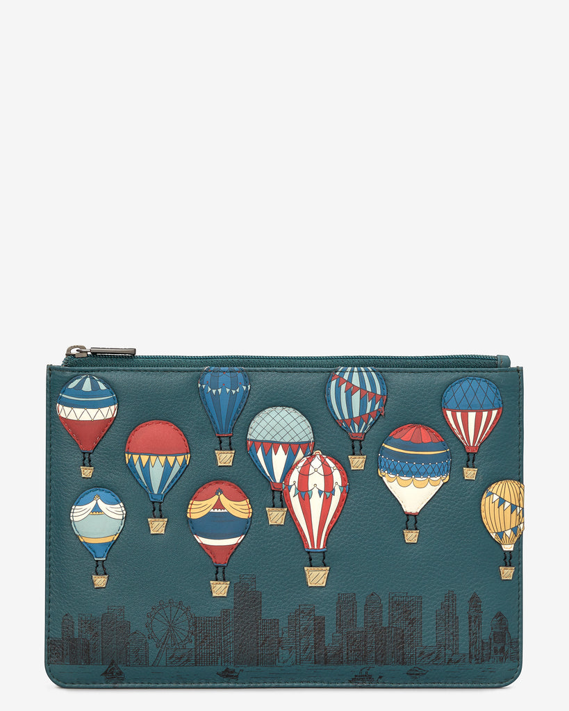 Amongst The Clouds Teal Leather Brooklyn Pouch - Teal - Yoshi