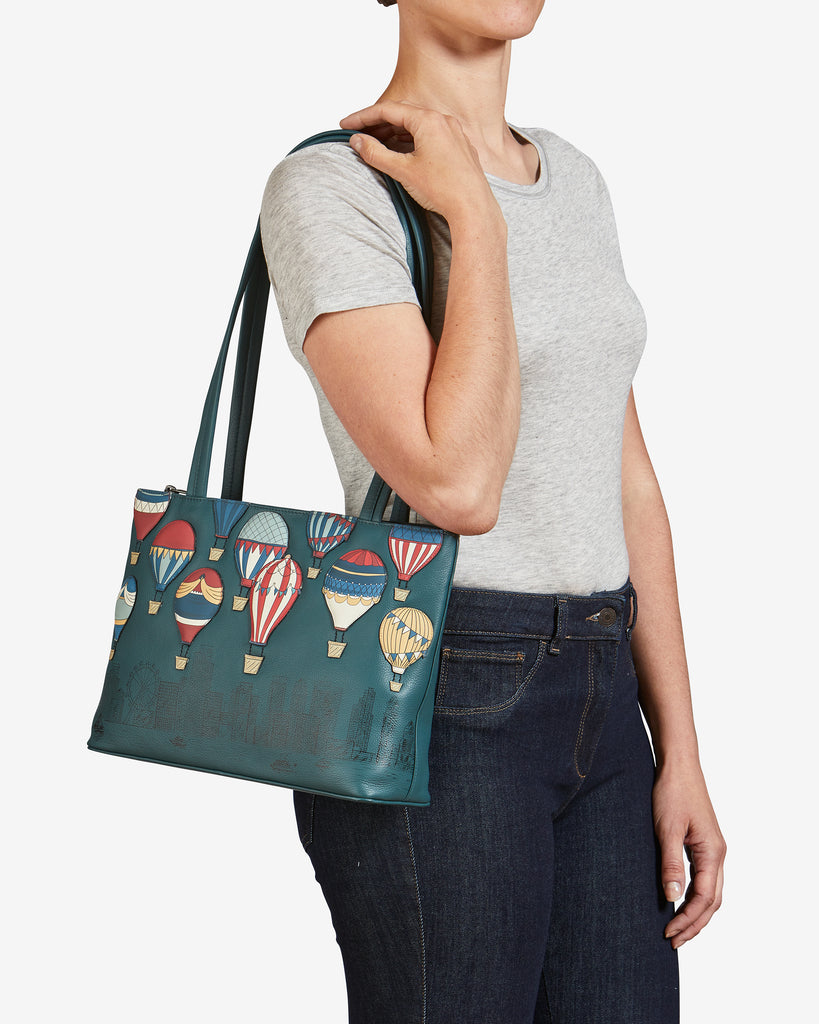 Amongst The Clouds Teal Leather Shoulder Bag -  - Yoshi