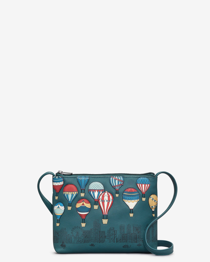 Amongst The Clouds Teal Leather Cross Body Bag - Teal - Yoshi