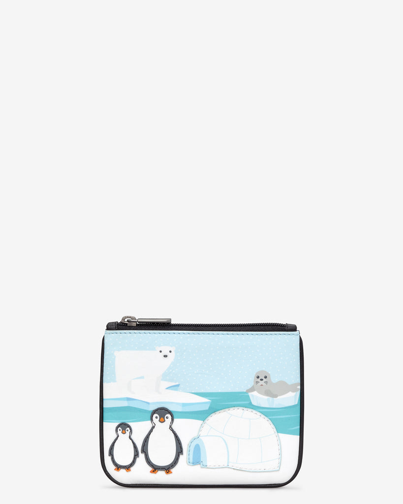 Arctic Zip Top Leather Purse - Blue - Yoshi