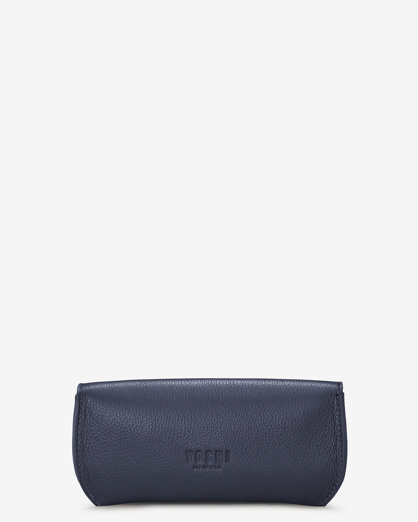Navy Leather Atlantic Glasses Case - Yoshi
