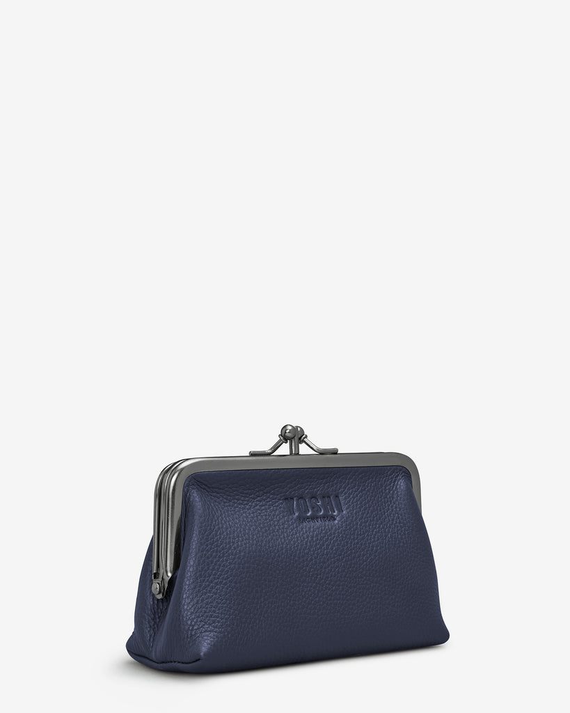 Navy Leather Aubrey Frame Purse - Yoshi