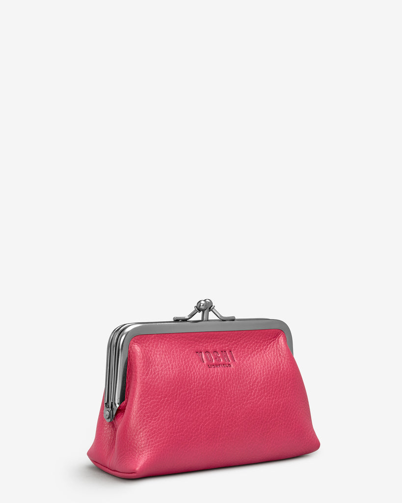 Raspberry Leather Aubrey Frame Purse - Yoshi