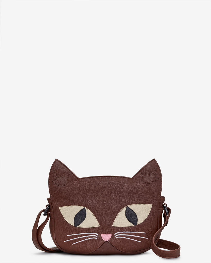 Augustus The Cat Leather Cross Body Bag - Brown - Yoshi