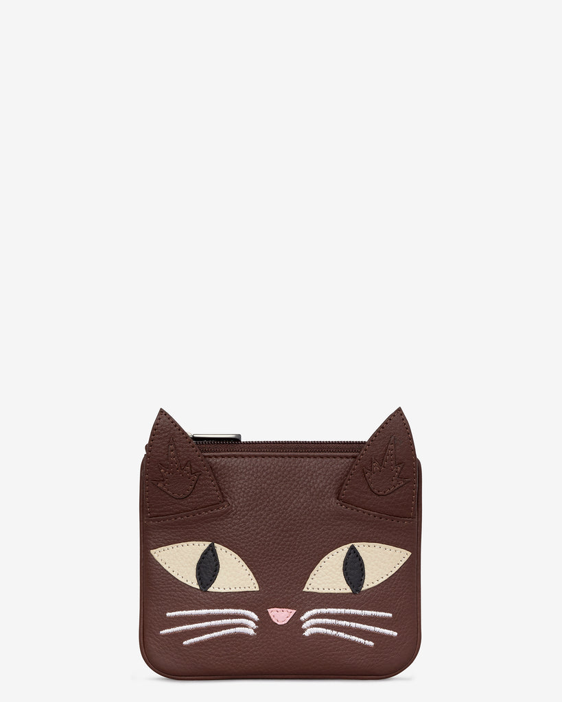 Augustus The Cat Brown Leather Zip Top Purse - Brown - Yoshi