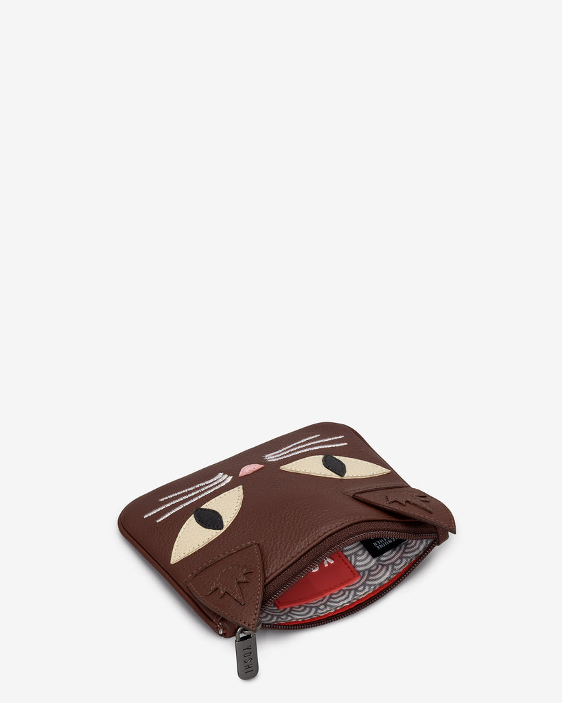 Augustus The Cat Brown Leather Zip Top Purse -  - Yoshi