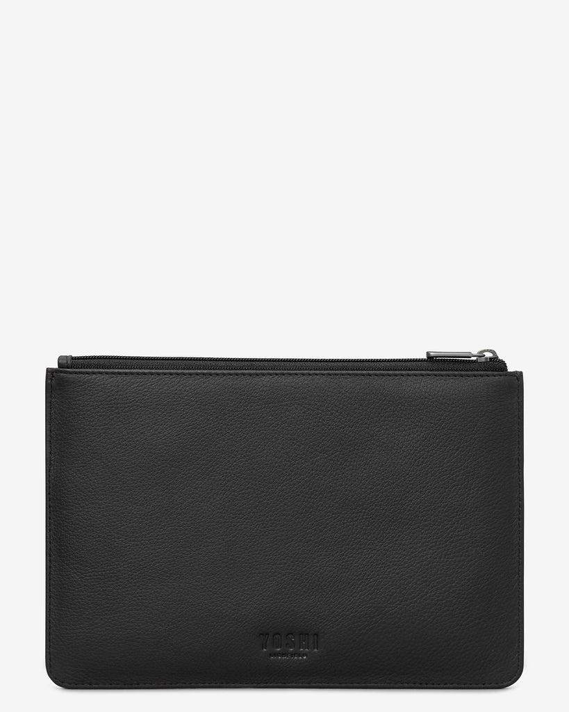 Be Kind Rewind Black Leather Brooklyn Pouch - Yoshi