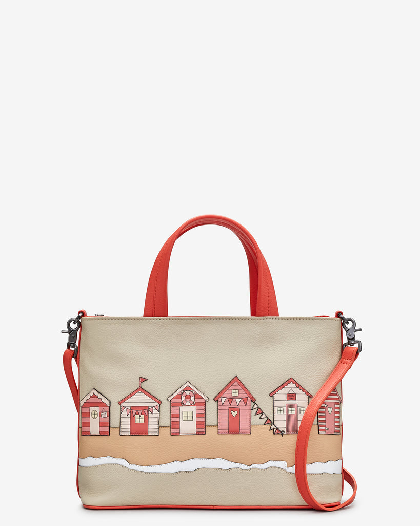 Beach Life Coral Leather Multiway Grab Bag - Coral - Yoshi