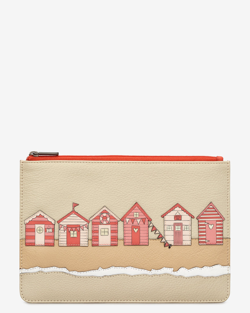 Beach Life Coral Leather Brooklyn Pouch - Coral - Yoshi