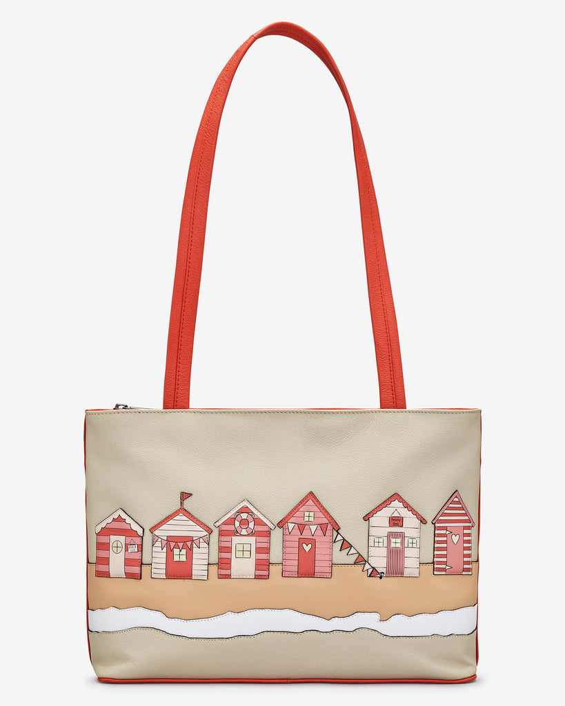 Beach Life Coral Leather Shoulder Bag - Coral - Yoshi