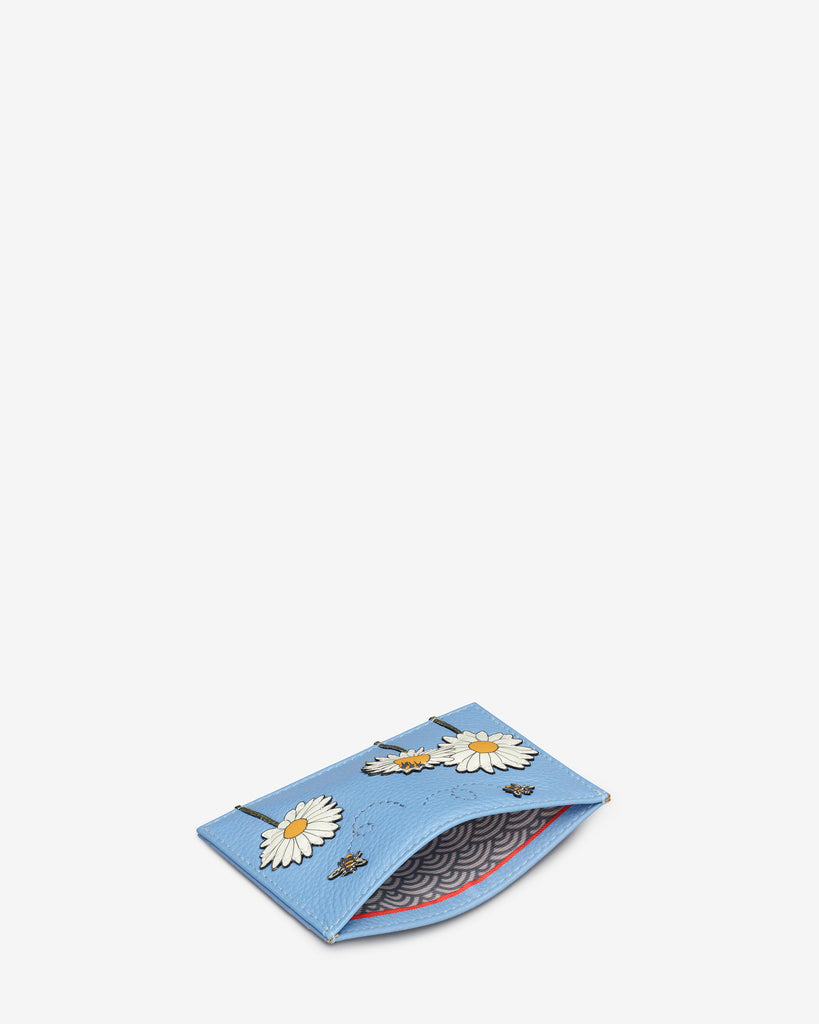Bee Happy Blue Leather Academy Card Holder - Yoshi