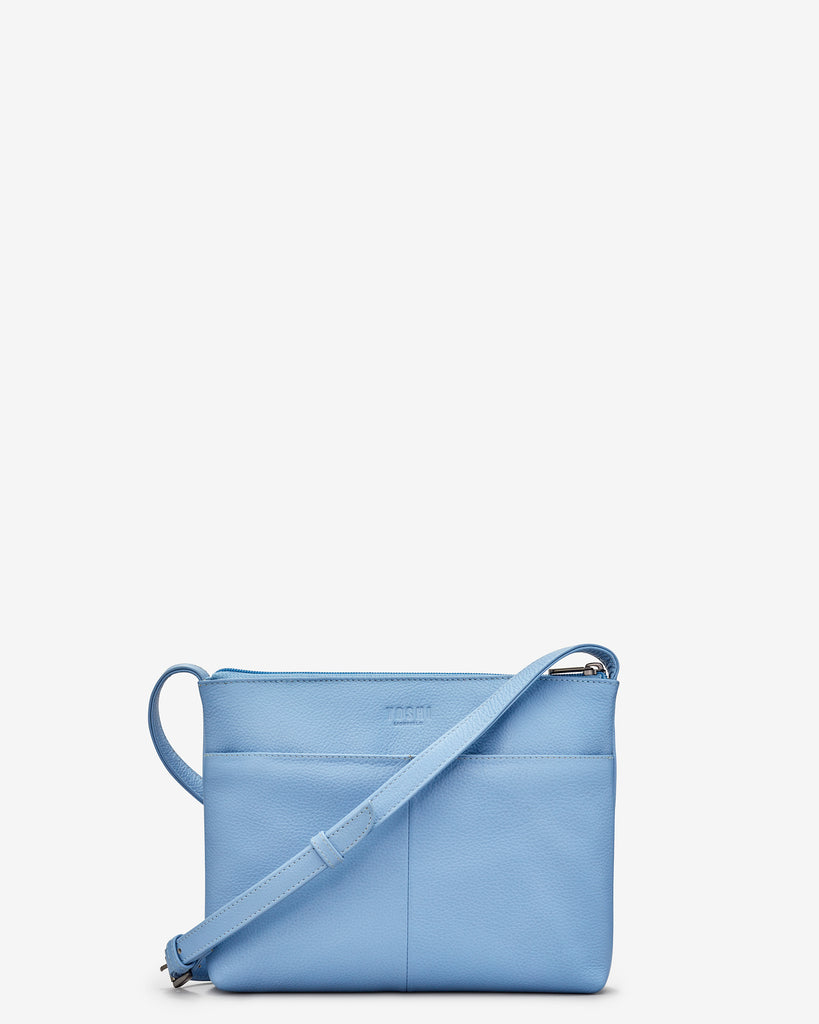 Bee Happy Blue Leather Cross Body Bag - Yoshi