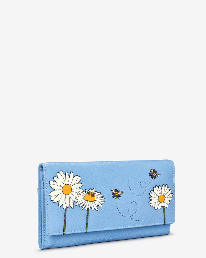 Bee Happy Blue Leather Hudson Purse - Yoshi