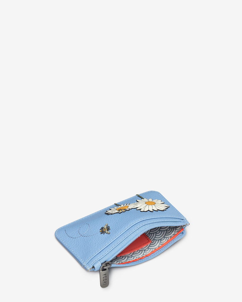 Bee Happy Blue Leather Morton Card Holder - Yoshi