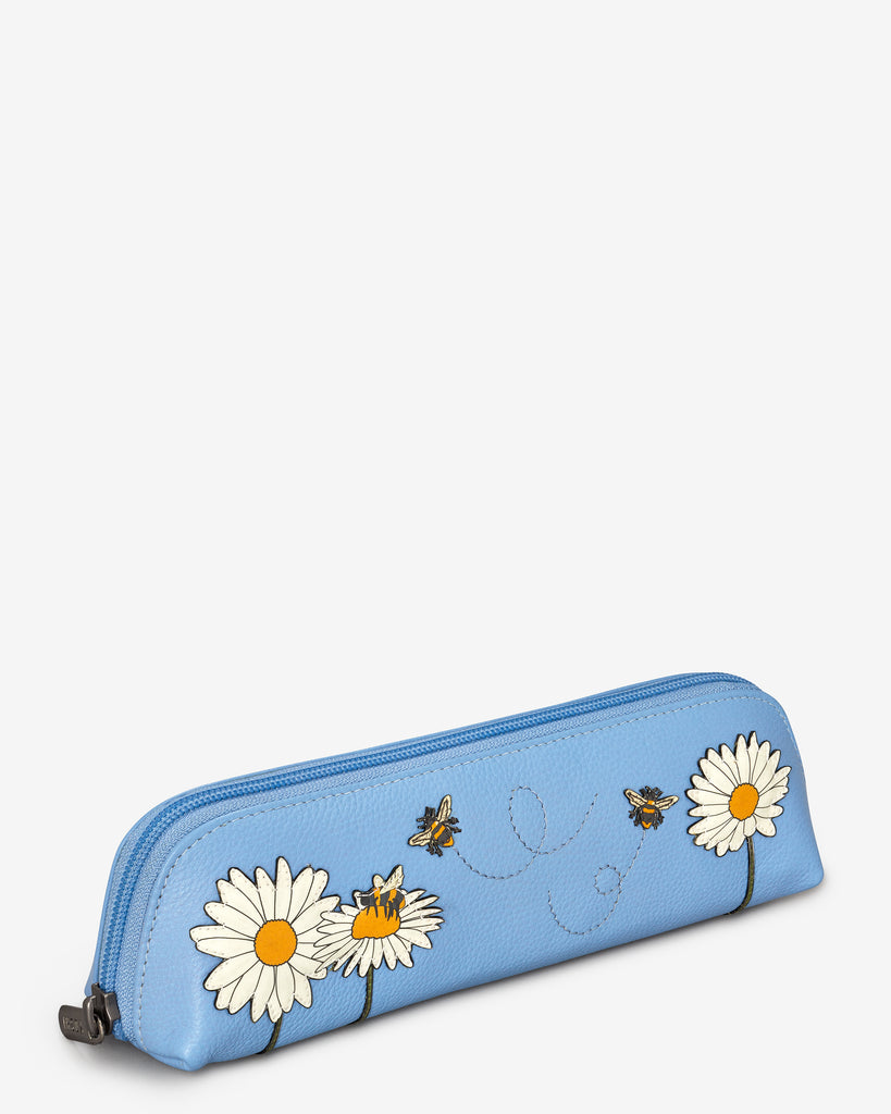 Bee Happy Blue Leather Pencil Case - Yoshi