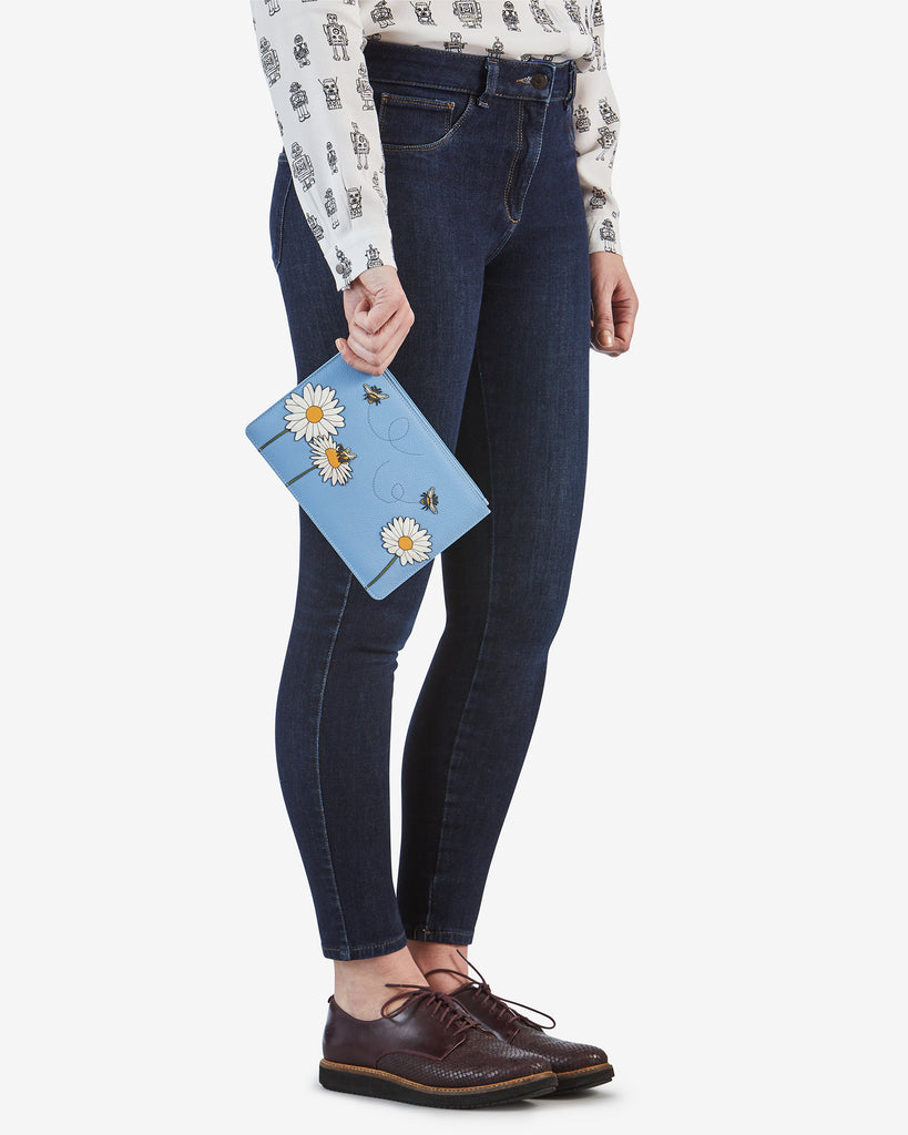 Bee Happy Blue Leather Brooklyn Pouch - Yoshi