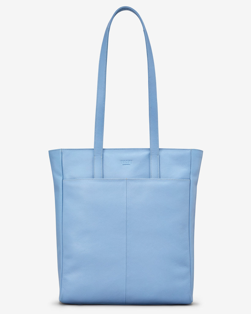 Bee Happy Blue Leather Shopper Bag - Yoshi