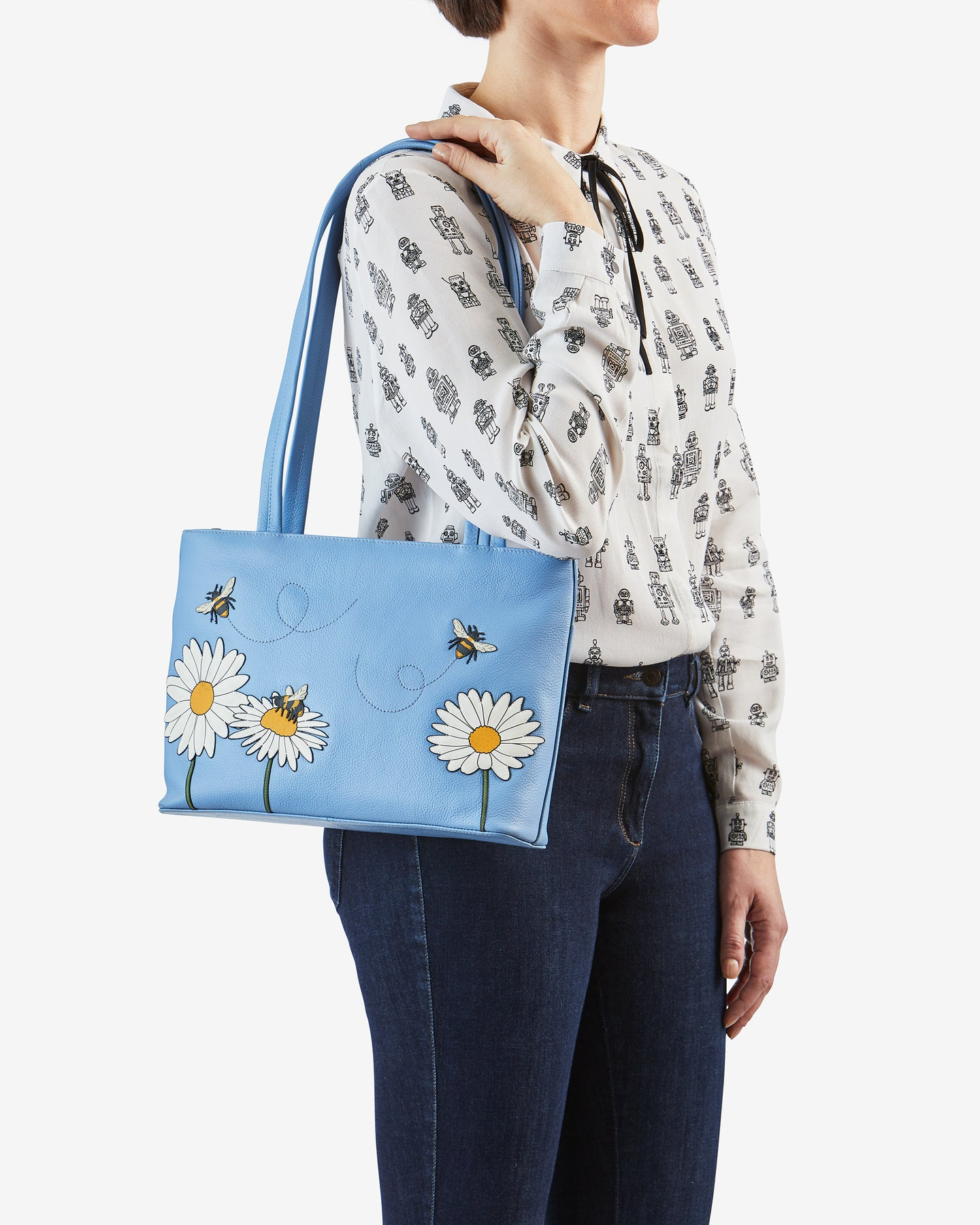 Bee Happy Blue Leather Shoulder Bag handmade by yoshi RRP £85.00