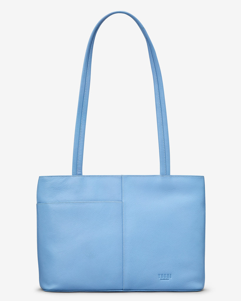 Bee Happy Blue Leather Shoulder Bag - Yoshi