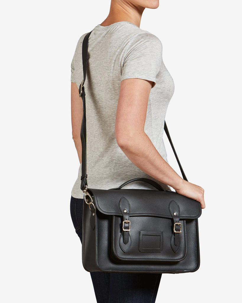 "Belforte 14"" Black Leather Satchel - Yoshi"