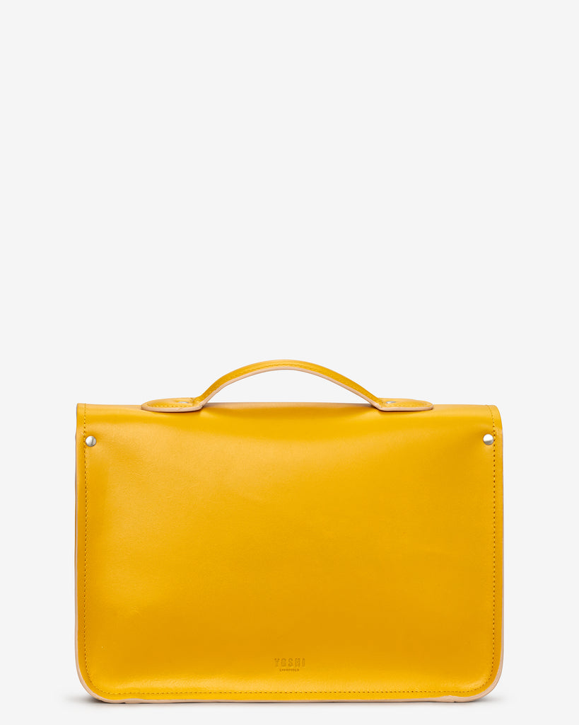 "Belforte 14"" Mustard Yellow Leather Satchel - Yoshi"