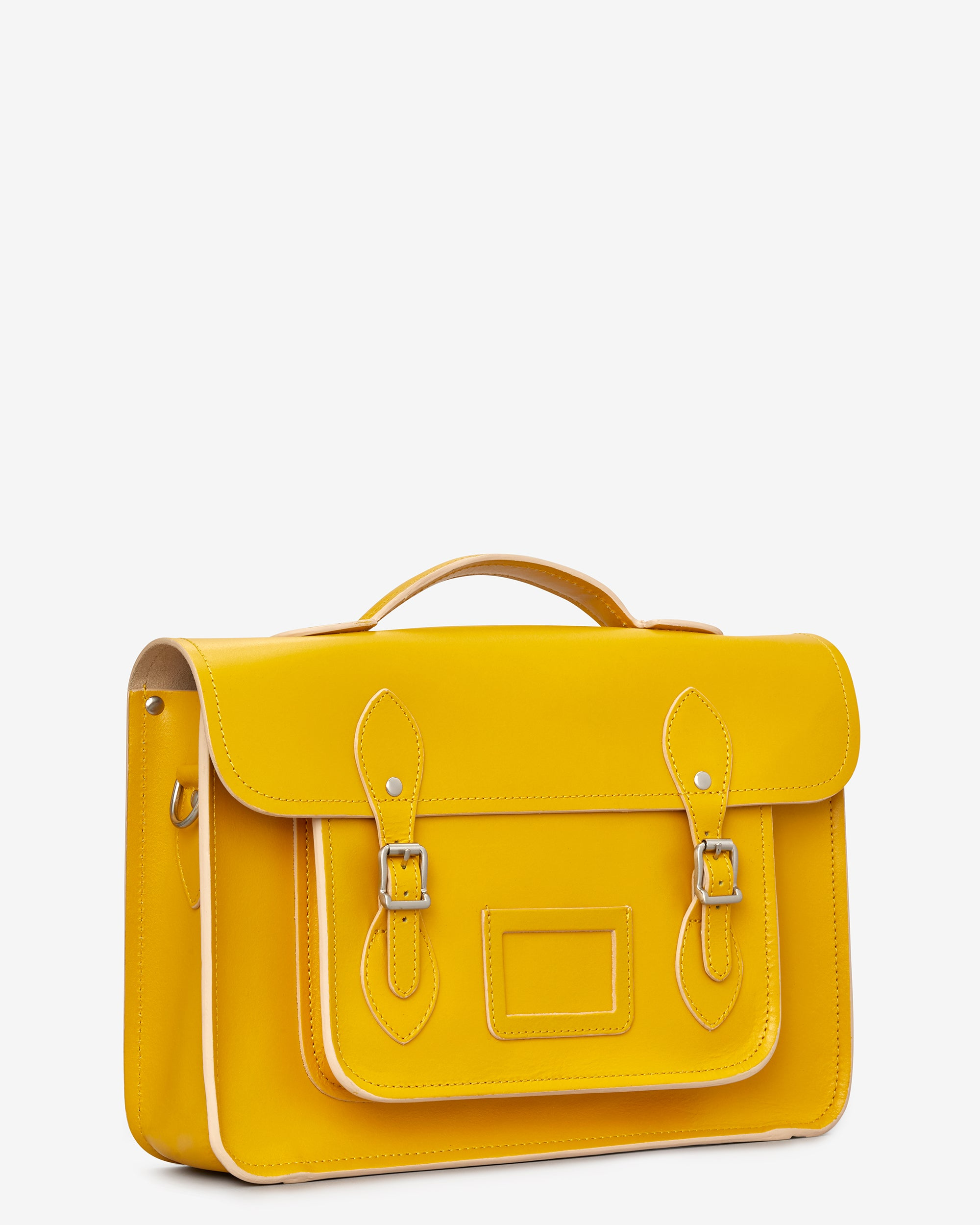 Belforte 14\' Mustard Yellow Leather Satchel