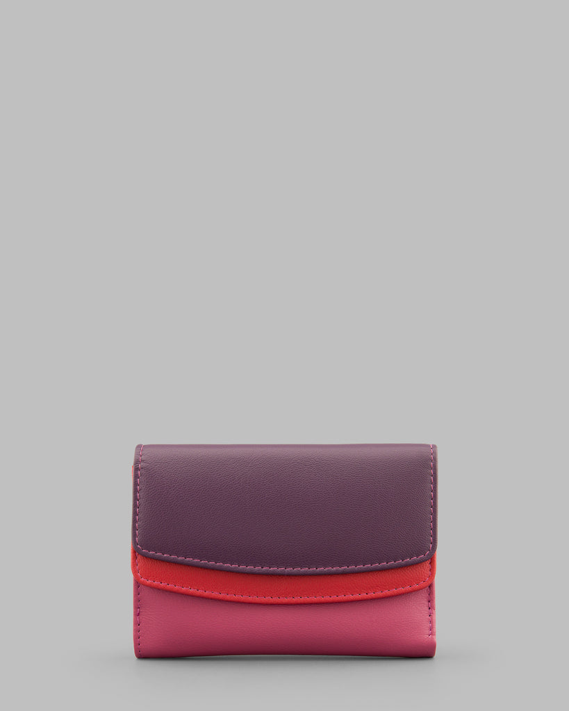 Berry Multi Double Flap Over Leather Purse -  - Y by Yoshi